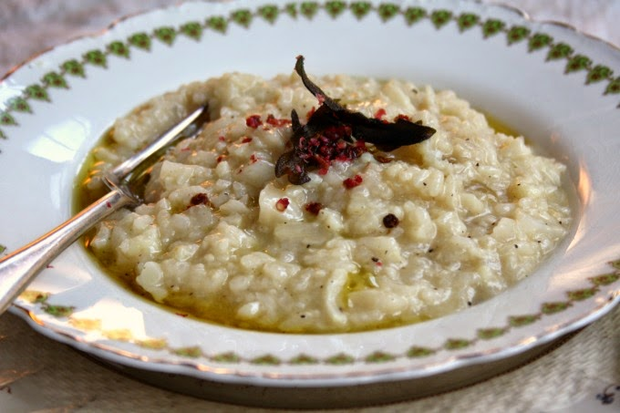 Cauliflower risotto with crispy sage