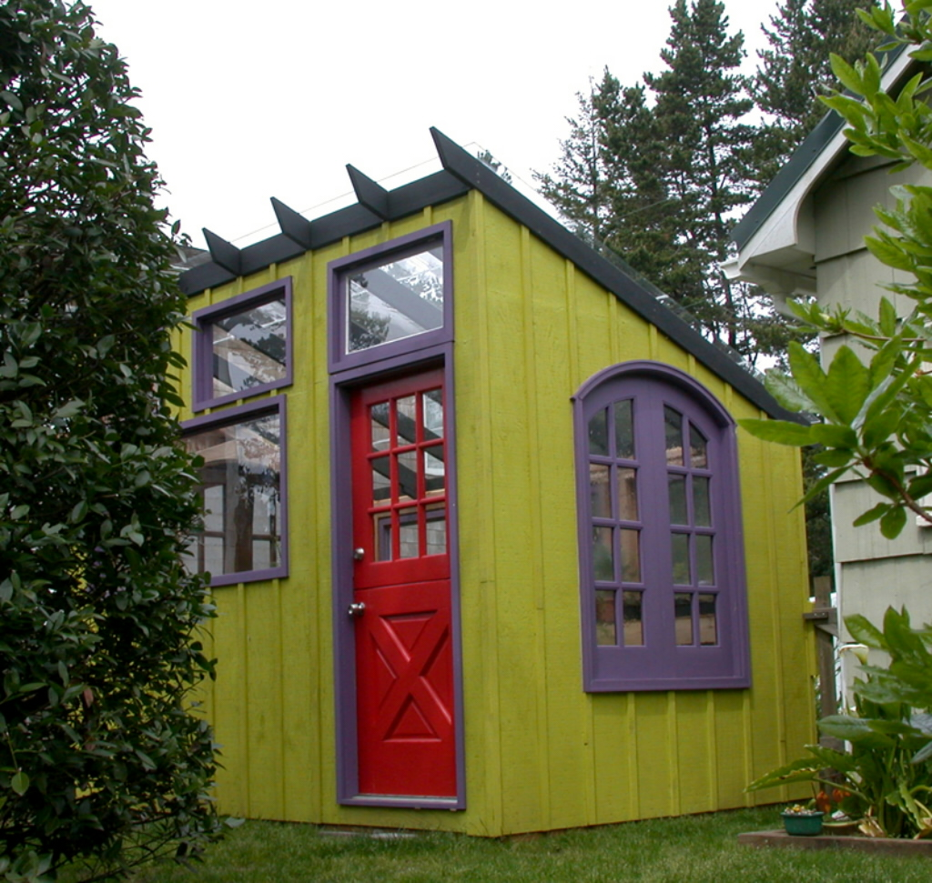 Small Garden Yard With Cute Purple Plants Contemporary: Garden Potting Sheds