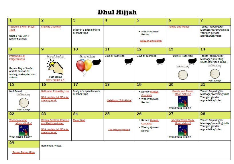 Hijrah Based Islamic Studies Start Up/Maintenance Curriculum - By the Month