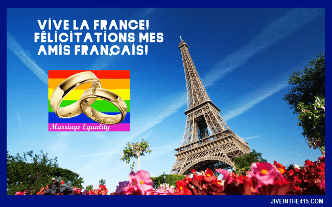 Gay Marriage Update - France approves gay marriage - the Eiffel Tower in spring, in Paris France.