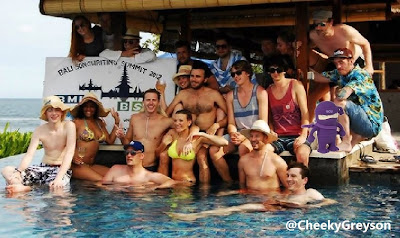 Shirtless Greyson Chance in Bali at the pool - May 2013