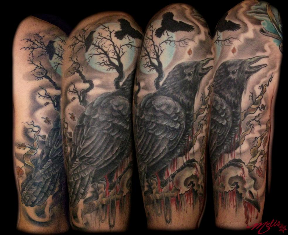 Skull and moon tattoo fresh tattoo ideas for Ravens face tattoos