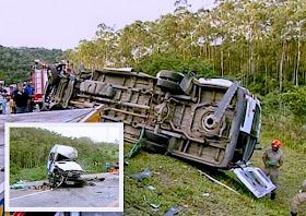 Acidente entre van e carreta deixa 2 mortos próximo ao trevo de Rio Dourado