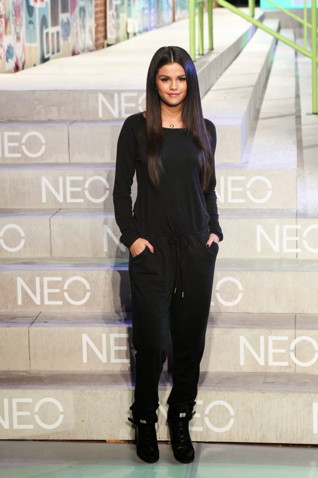 Selena Gomez flaunts sleek hair at the Adidas NEO Fashion Show in NYC