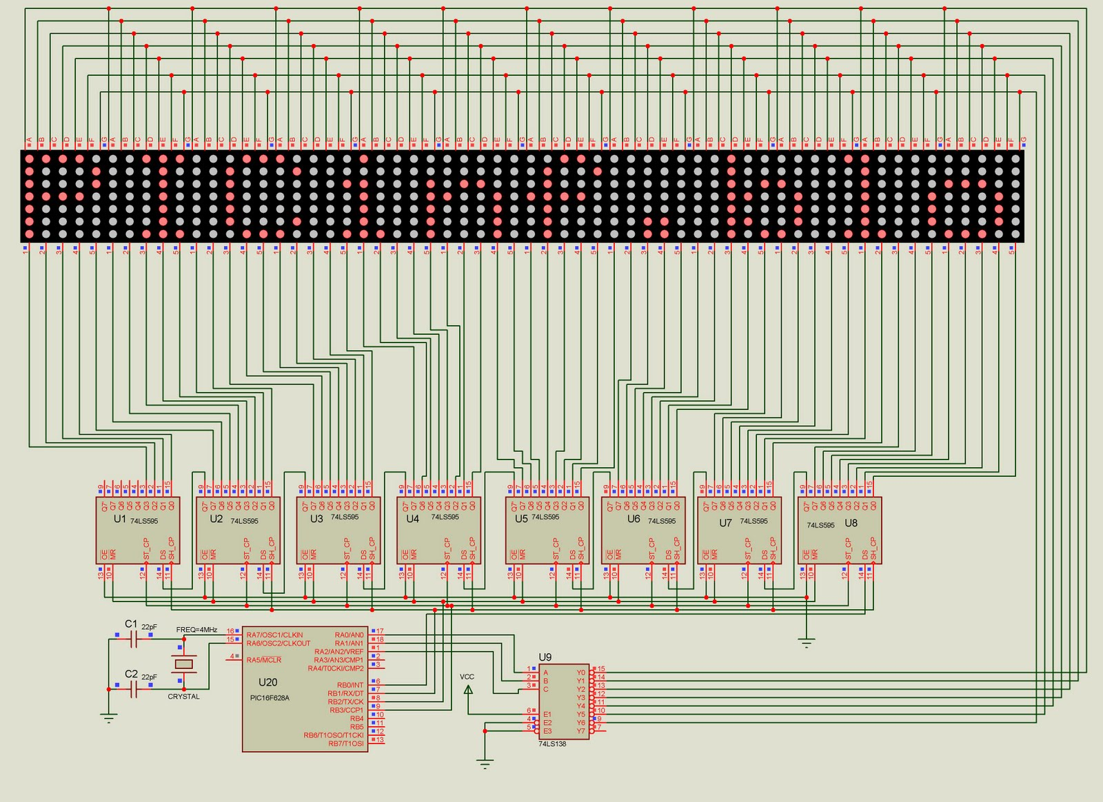 Led Display Using 8051 Microcontroller Seven Segment Circuit Diagram Further Matrix Pictures A Note About 7