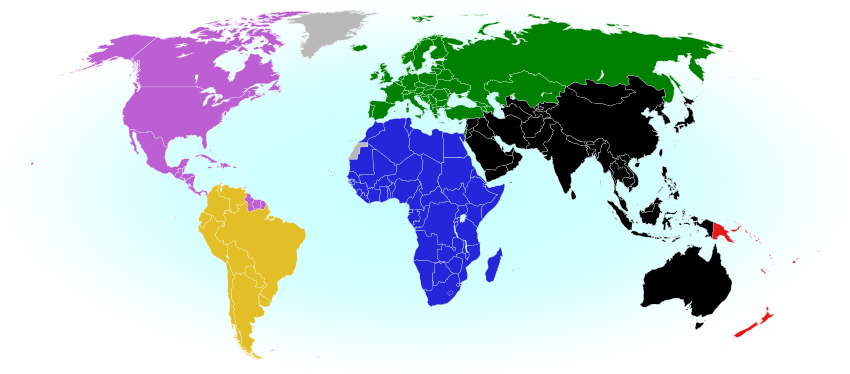 World map showing the six continental confederations of national association football (soccer) teams, including all teams eligible for the World Cup