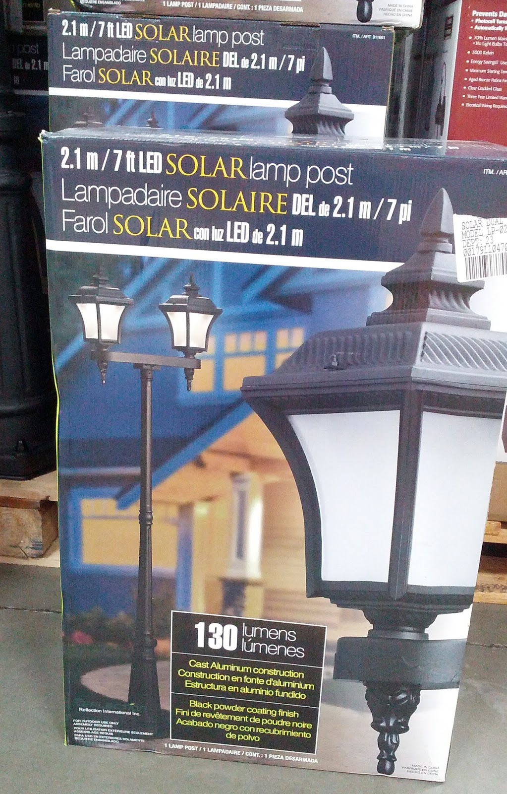 7ft led solar dual head lamp post to light up the front of your house. Black Bedroom Furniture Sets. Home Design Ideas