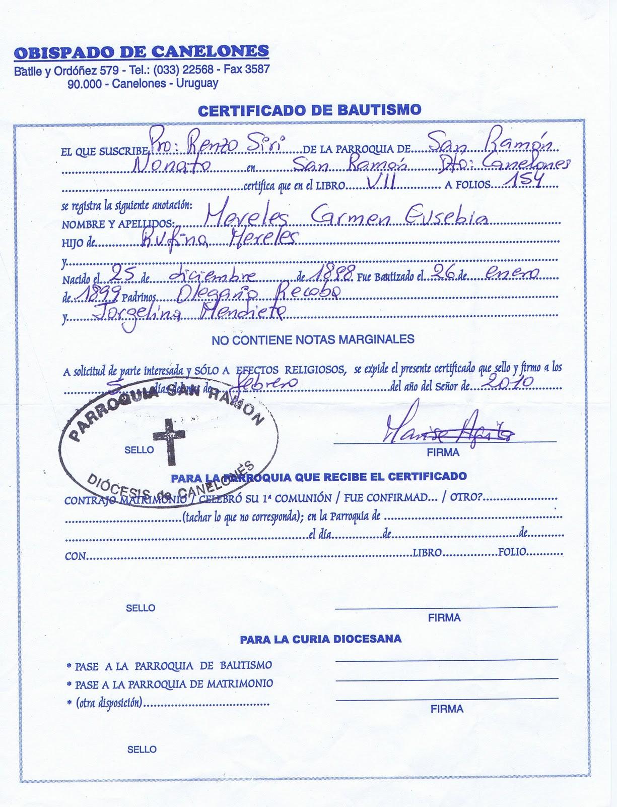 Acta De Matrimonio Catolico : Certificado de bautismo catolico imagui
