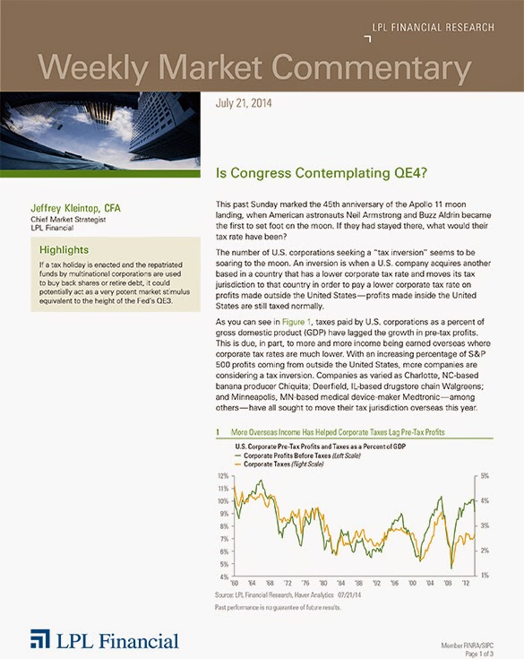 The LPL Financial Weekly Market Commentary from Legacy Wealth Planning – July 21, 2014