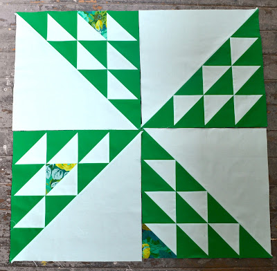 Emerald Half Square Triangles Quilt
