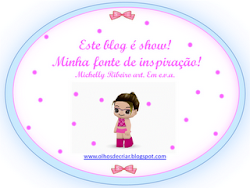 Meu primeiro selinho, ganhei do Blog da Michelly Ribeiro Art. em e.v.a.! Valeu Michelly!!!