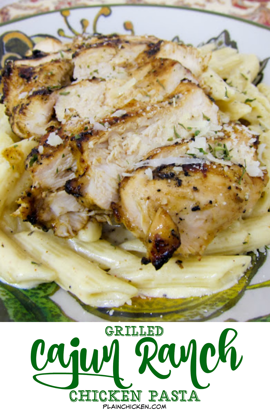 Grilled Cajun Ranch Chicken Pasta - restaurant quality! Chicken marinated in a cajun ranch mixture and grilled, then tossed in a creamy cajun alfredo. I wanted to lick the plate! We made this two days in a row!!