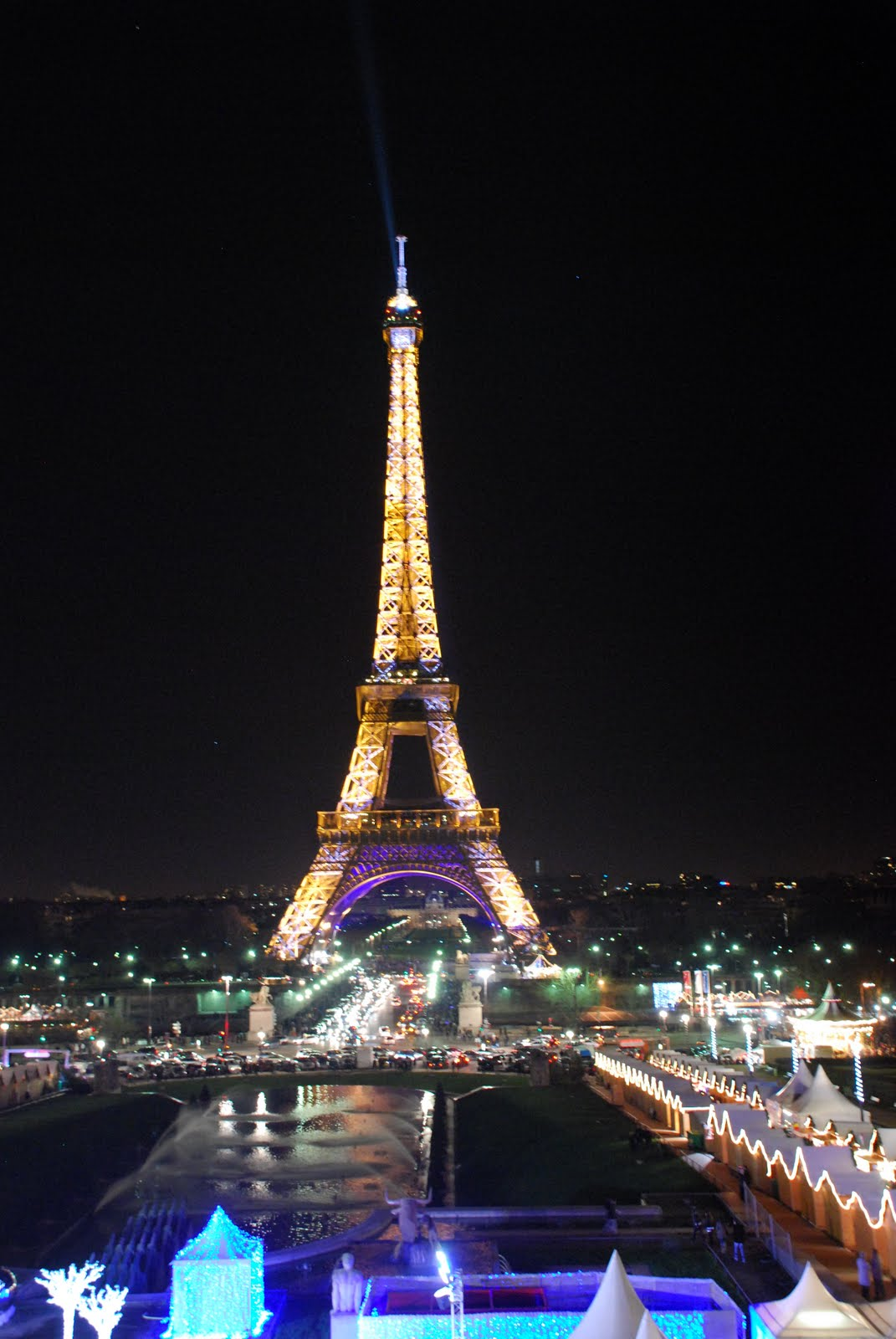 Flowers and more: Eiffel Tower Under Christmas Lights