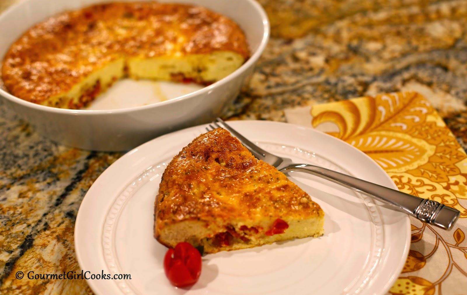 Gourmet Girl Cooks: Crustless Zucchini, Tomato & Onion Pie