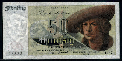 Germany banknotes 50 Deutsche Mark currency paper money