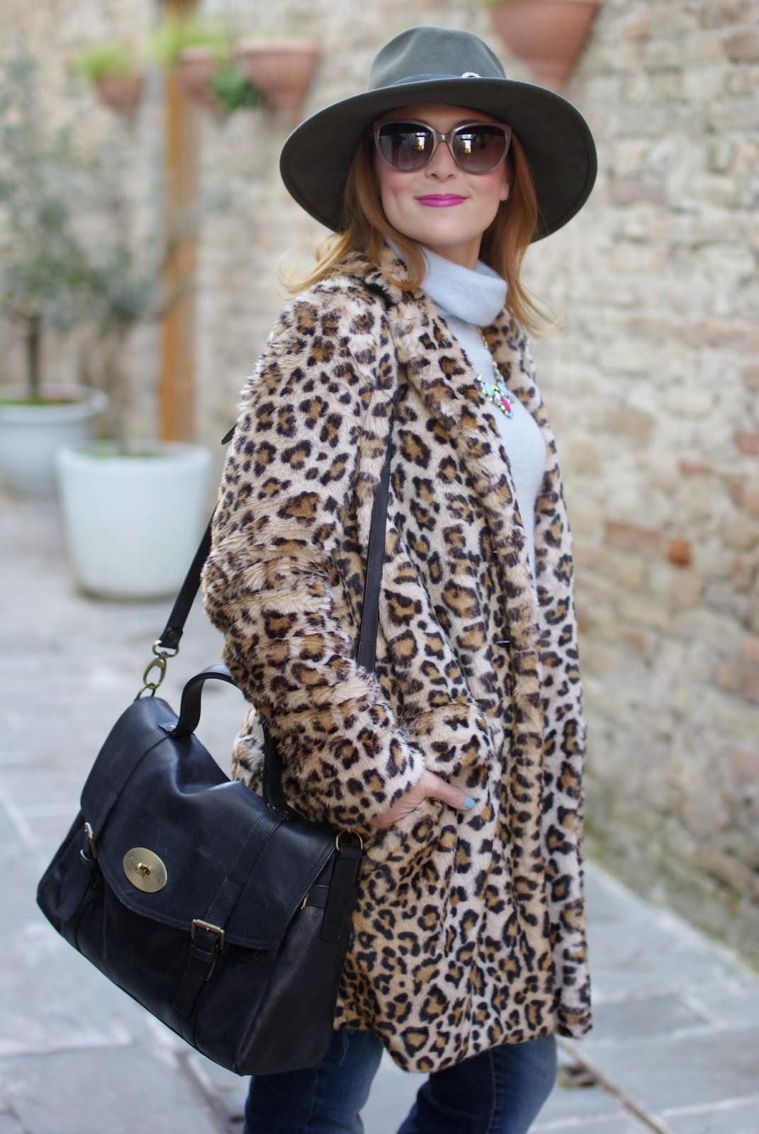 Zara leopard faux fur coat, Ecua-Andino australian hat, satchel bag, Fashion and Cookies, fashion blogger