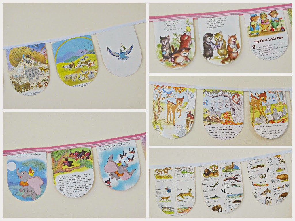 image domum vindemia little golden book buntings upcycled dumbo bambi noah's ark animal dictionary encyclopaedia bedtime stories three little pigs three kittens goldilocks and the three bears