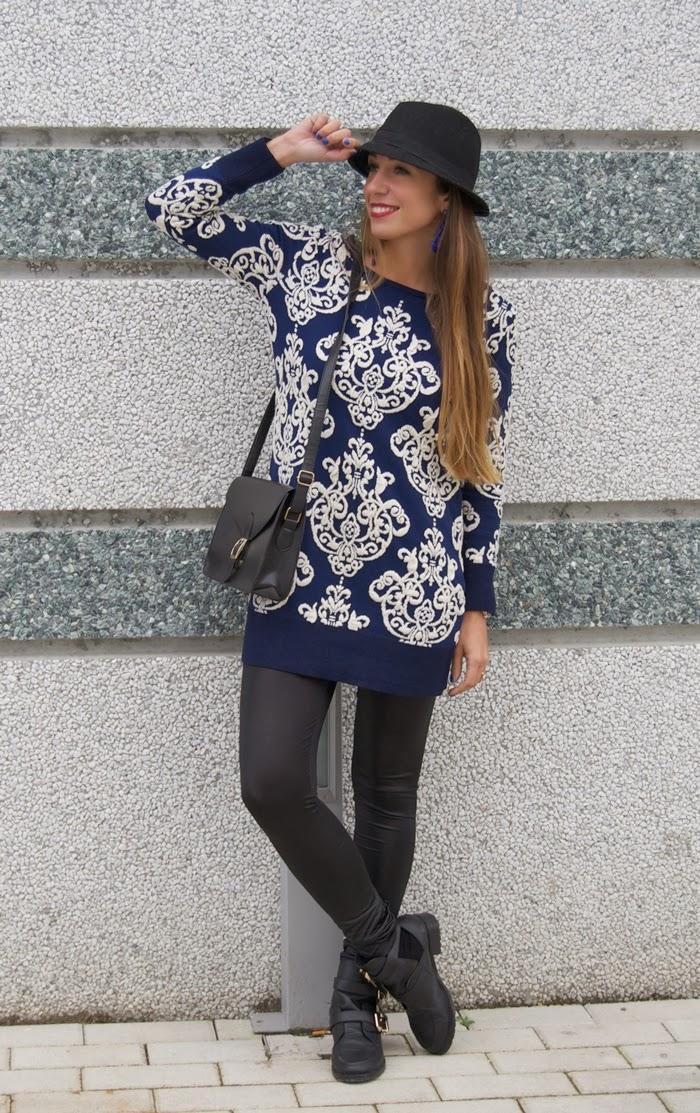 maglione blu bianco
