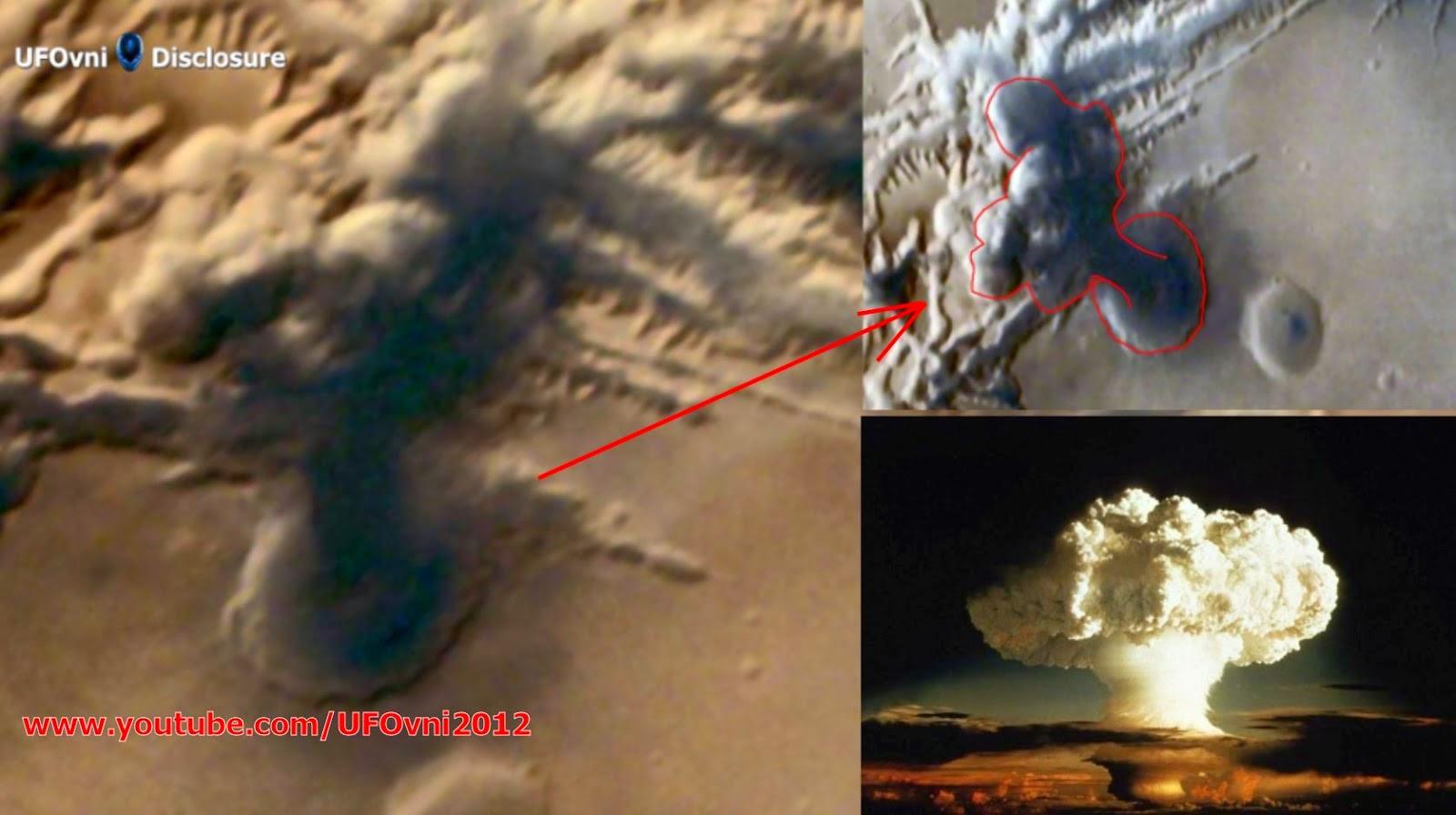 Images champignons de nuages par Mars Orbiter de l'Inde confirme énorme explosion sur Mars l'année