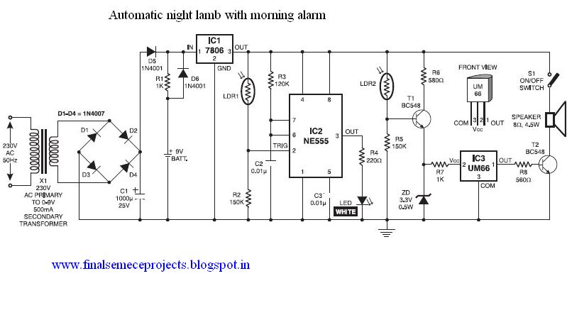 Final Year Projects  Automatic Night Lamp With Morning Alarm