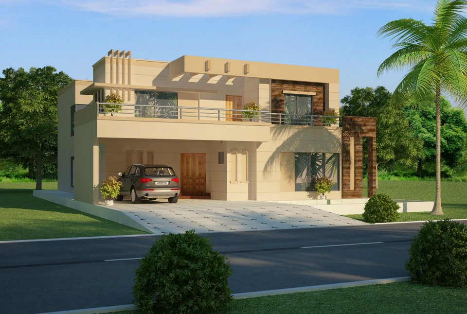 3d front dimetia pakistani 2 k2nal house 3d for Pakistani homes design