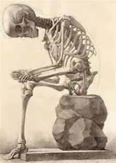 Illustration of skeleton sitting on rock picking at his foot.