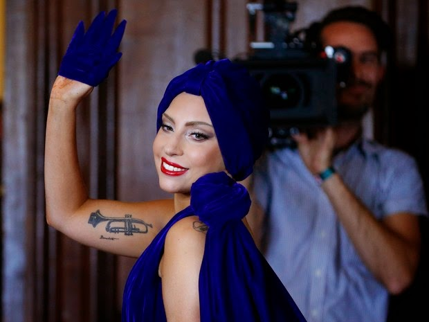 Lady Gaga at a press conference in Brussels, Belgium