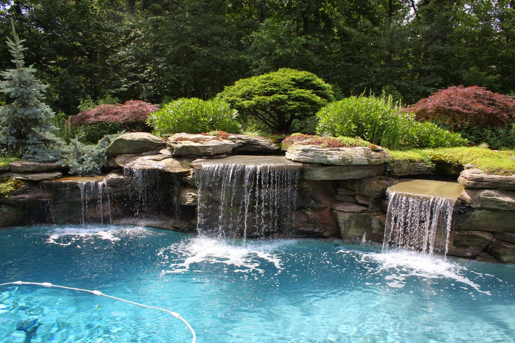 Artistic waterfall swimming pool