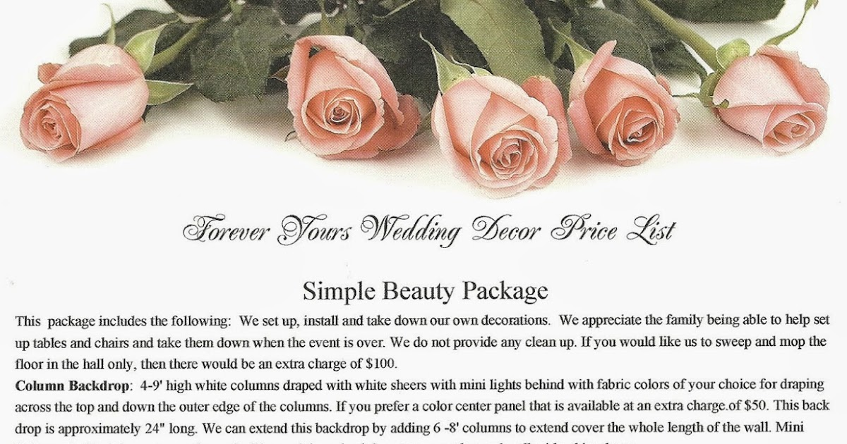 Forever Yours Wedding Decor Design Price List
