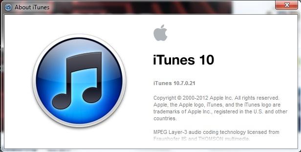 iTunes 10.7.0.21
