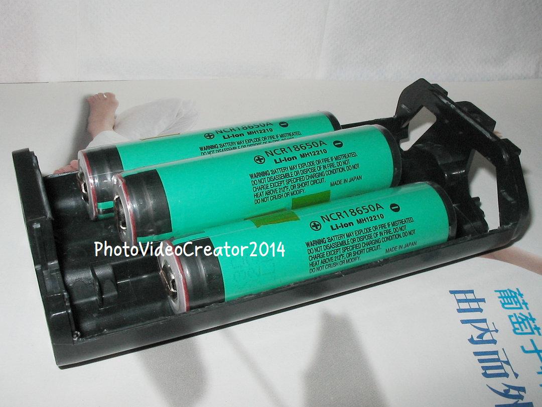NP-E3擺入3顆18650鋰電池的大小示意