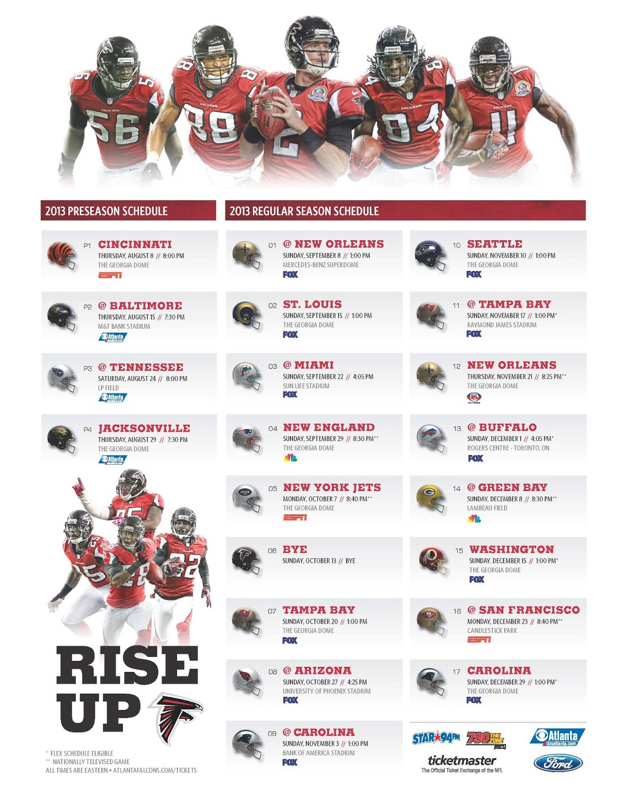 the 2013 atlanta falcons schedule #riseup - planet of the sanquon