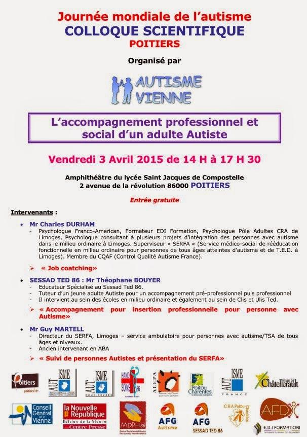 Affiche colloque organisé par l'association Autisme Vienne à Poitiers le 3 avril 2015