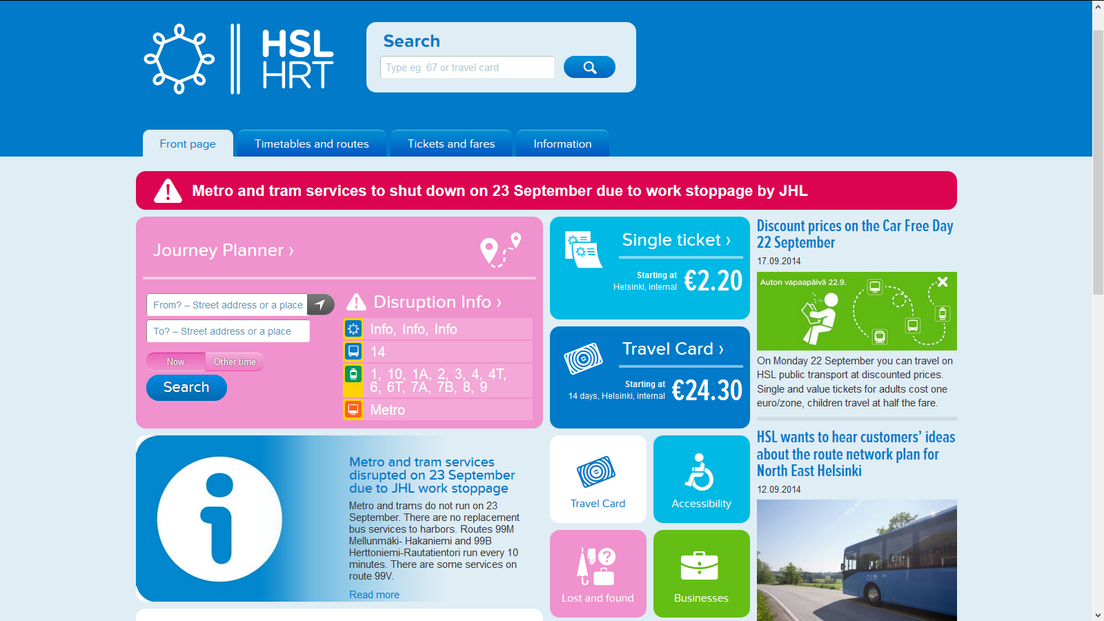 Strike information on the HSL website