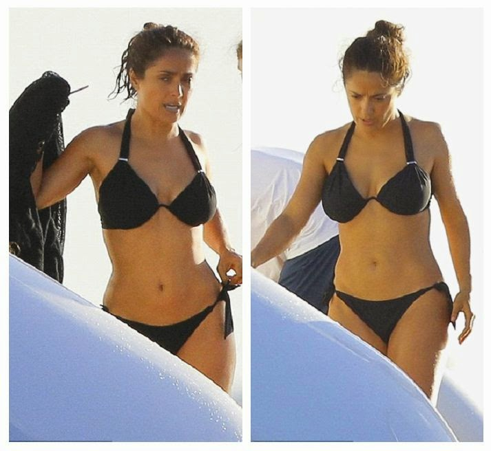 All we need are just to seeing her in wet, cause there's a lot of example for our healthy idea.  And the photographer camera could tell all apart as Salma Hayek is really bring her amazingly fit figure durin gher holiday for New Year's Eve 2015 at the luxury yacht in Saint Barthelemy on Saturday, December 27, 2014.