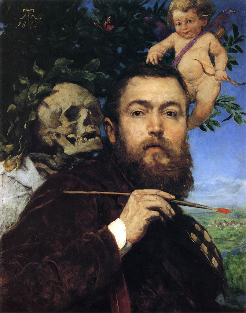 Hans Thoma, Self portrait with Love and Death (1875)