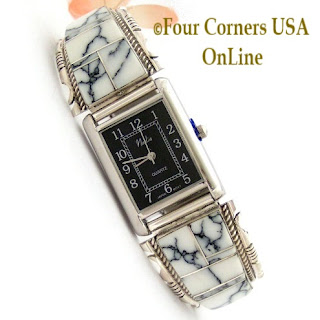 Men's White Buffalo Inlay Watch with Black Rectangle Watch Face Four Corners USA OnLine Native American Navajo Jewelry