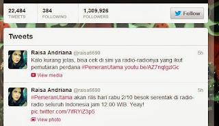 Raisa rilis lagu Pemeran Utama di 148 Radio se Indonesia