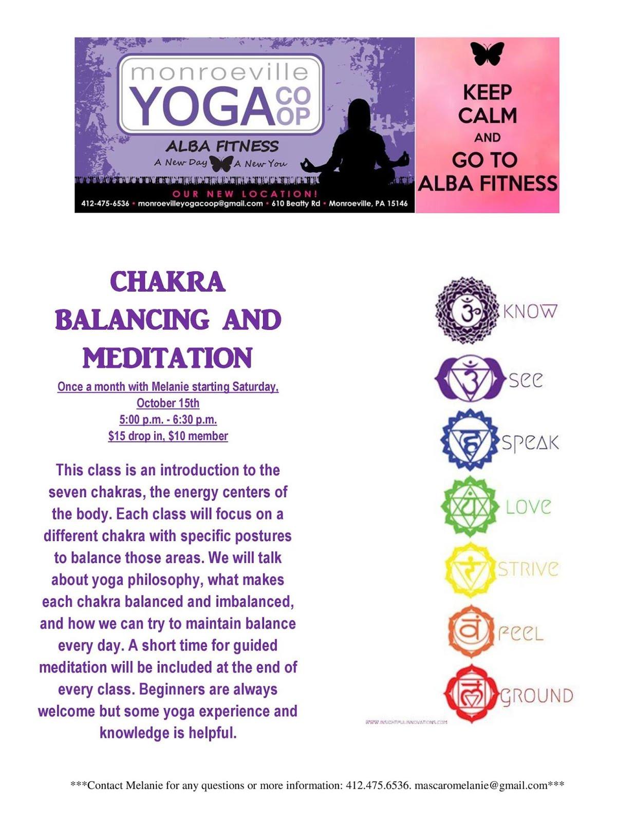 Chakra Balancing and Meditation class (starts Oct. 15th)