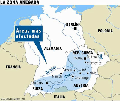 CENTRO DE EUROPA AFECTADO POR INUNDACIONES - MAPA ZONAS MAS AFECTADAS - 11 DE JUNIO 2013