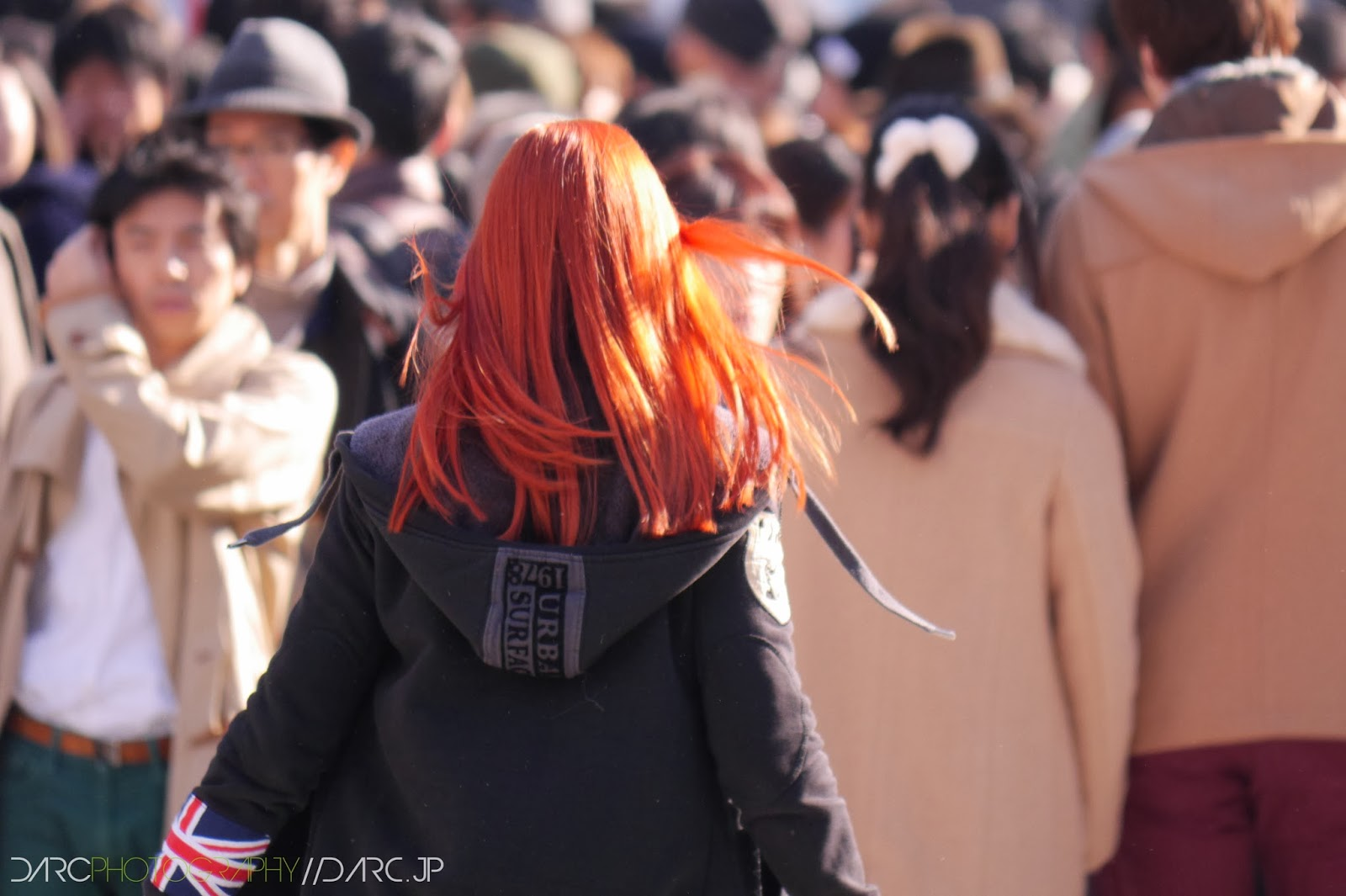 fiery hair in Shibuya