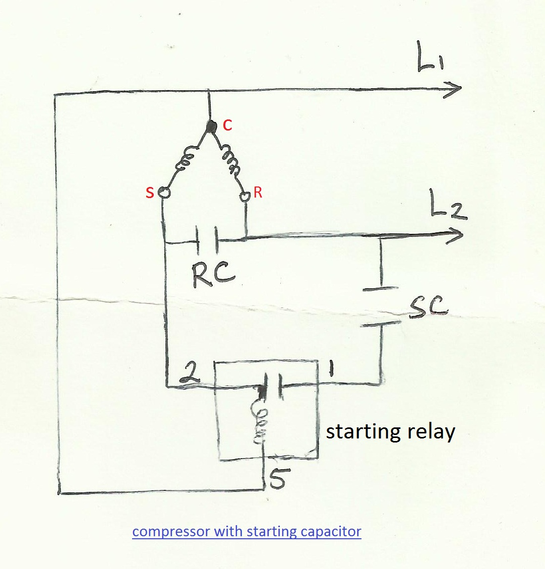 Start capacitor wiring diagram for compressor