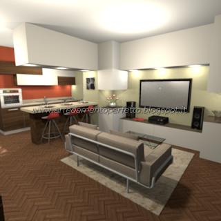 Progetto di restyling della cucina-soggiorno con intervento di lavori in cartongesso