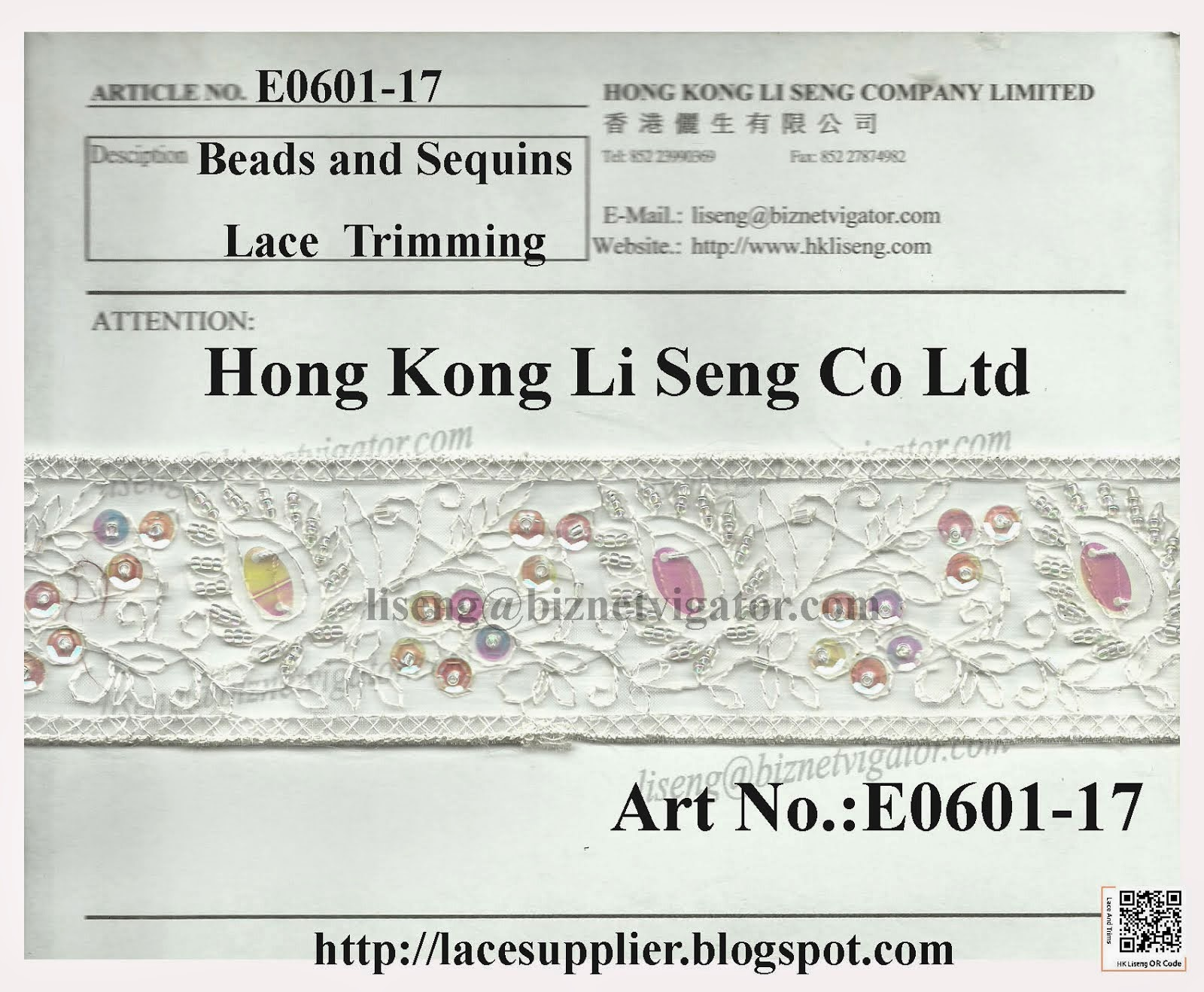Beads and Sequins Embroidered Lace Trimming Manufacturer Wholesaler and Supplier