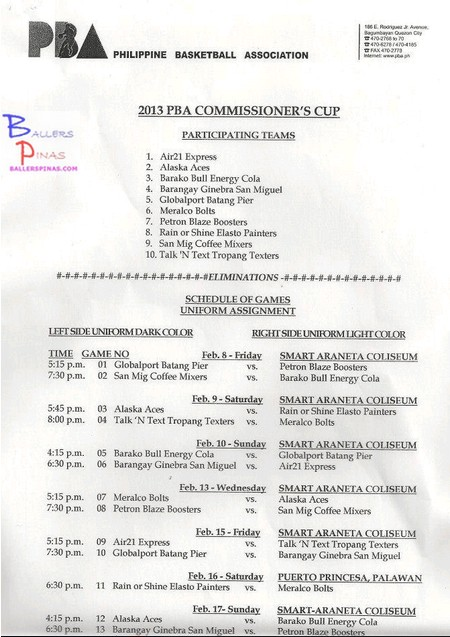 PBA Season 38 Commissioner's Cup Schedule of Games / Game Schedule ...