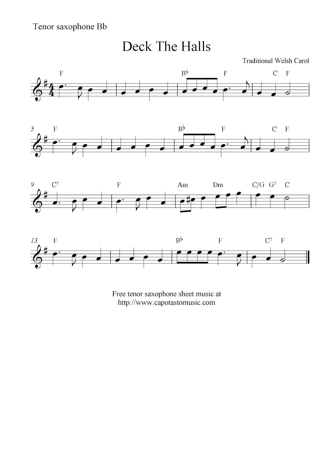 Deck The Halls, free christmas Tenor saxophone sheet music