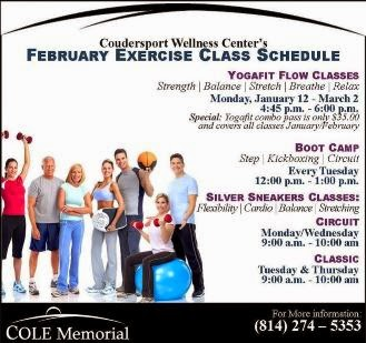 1-12 Thru 3-2 Exercise Class Schedule