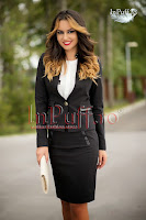 Sacou cambrat negru insertii ecopiele (MBG Collection)