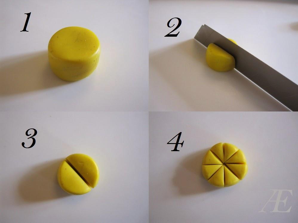 Citron skiver, diy, canes, stokke, cane, cernit, fimo, ler, clay, polymer, gul, citron, citrusfrugt,