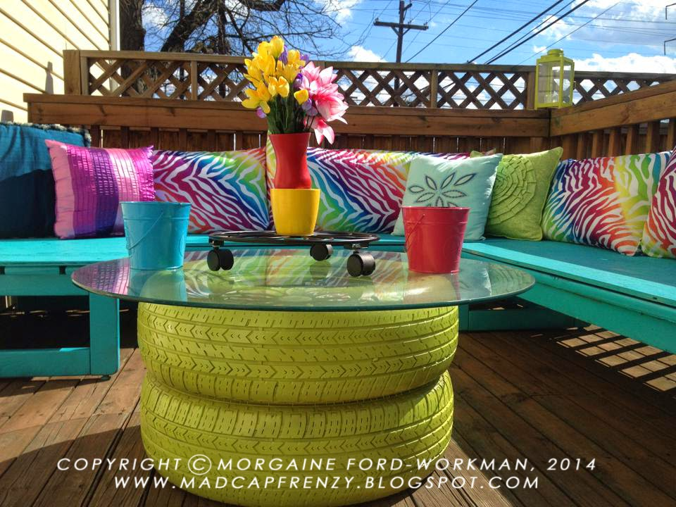 Madcap Frenzy: graphic design, diy, papercrafts and everything in-between:  A colorful deck seating area makeover: Bring on the Spring! - Madcap Frenzy: Graphic Design, Diy, Papercrafts And Everything In
